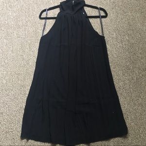 Naked Zebra Black Mock Neck Pleated Dress